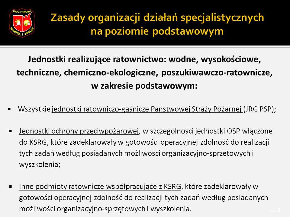 Jednostki realizujące ratownictwo: wodne, wysokościowe, techniczne, chemiczno-ekologiczne, poszukiwawczo-ratownicze, w zakresie podstawowym:  Wszystkie jednostki ratowniczo-gaśnicze Państwowej Straży Pożarnej (JRG PSP);  Jednostki ochrony przeciwpożarowej, w szczególności jednostki OSP włączone do KSRG, które zadeklarowały w gotowości operacyjnej zdolność do realizacji tych zadań według posiadanych możliwości organizacyjno-sprzętowych i wyszkolenia;  Inne podmioty ratownicze współpracujące z KSRG, które zadeklarowały w gotowości operacyjnej zdolność do realizacji tych zadań według posiadanych możliwości organizacyjno-sprzętowych i wyszkolenia.