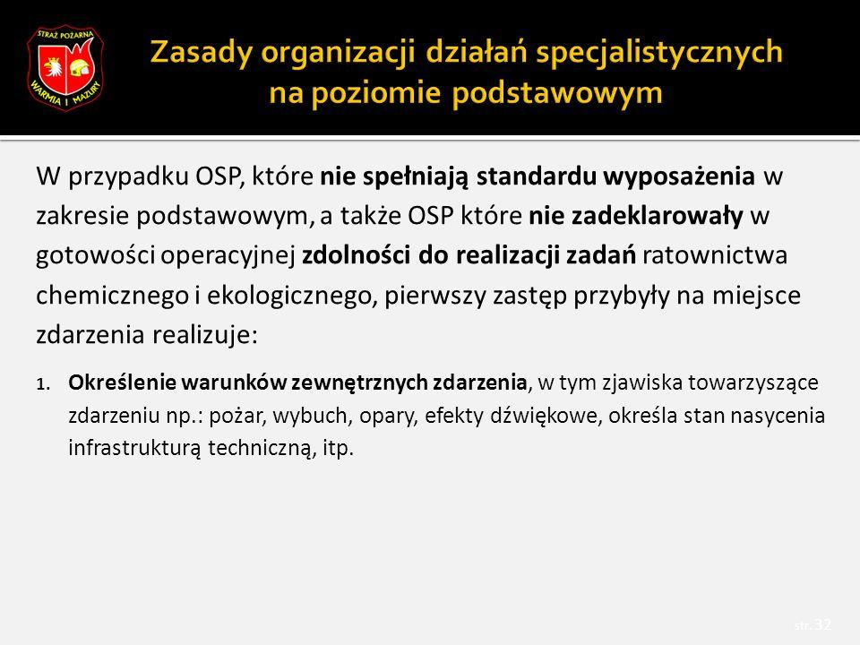 W przypadku OSP, które nie spełniają standardu wyposażenia w zakresie podstawowym, a także OSP które nie zadeklarowały w gotowości operacyjnej zdolności do realizacji zadań ratownictwa chemicznego i ekologicznego, pierwszy zastęp przybyły na miejsce zdarzenia realizuje: 1.