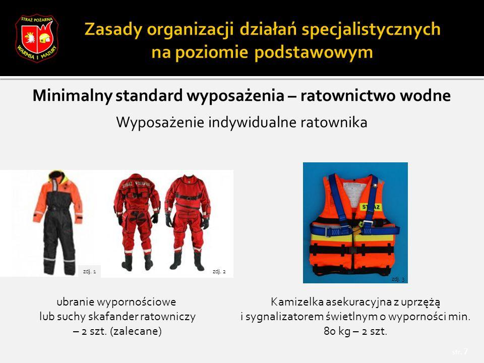 str. 7 Minimalny standard wyposażenia – ratownictwo wodne Wyposażenie indywidualne ratownika ubranie wypornościowe lub suchy skafander ratowniczy – 2
