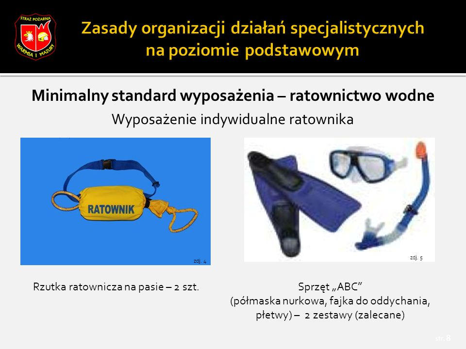 """str.49  """"Zasady organizacji ratownictwa wodnego w KSRG , Warszawa, lipiec 2013 r."""