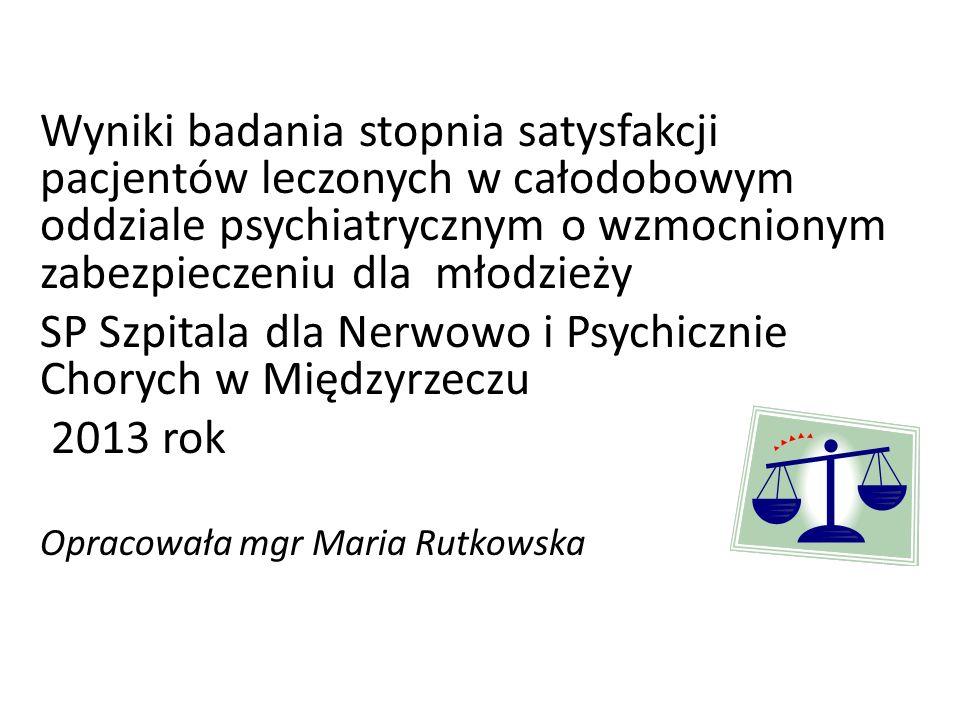 Wyniki badania stopnia satysfakcji pacjentów leczonych w całodobowym oddziale psychiatrycznym o wzmocnionym zabezpieczeniu dla młodzieży SP Szpitala dla Nerwowo i Psychicznie Chorych w Międzyrzeczu 2013 rok Opracowała mgr Maria Rutkowska