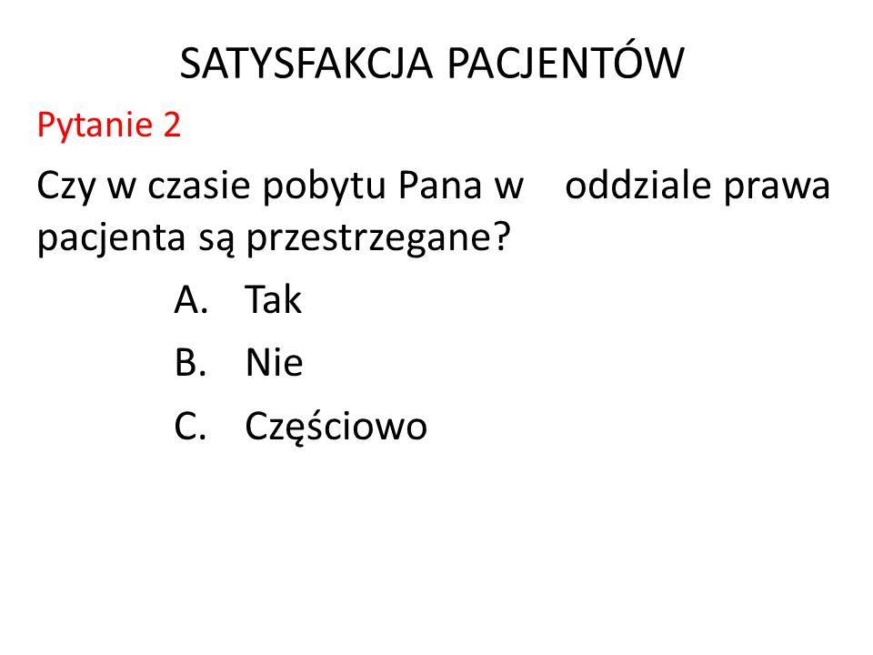 SATYSFAKCJA PACJENTÓW Pytanie 2 Czy w czasie pobytu Pana w oddziale prawa pacjenta są przestrzegane.