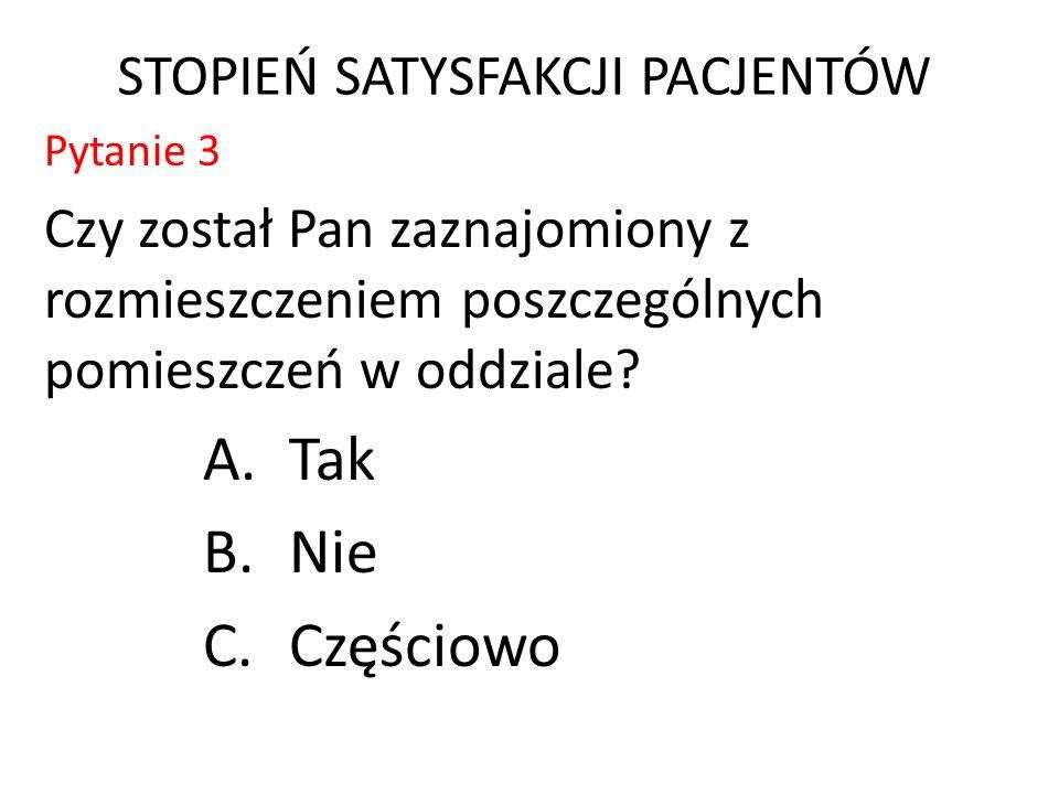 STOPIEŃ SATYSFAKCJI PACJENTÓW Pytanie 3 Czy został Pan zaznajomiony z rozmieszczeniem poszczególnych pomieszczeń w oddziale.