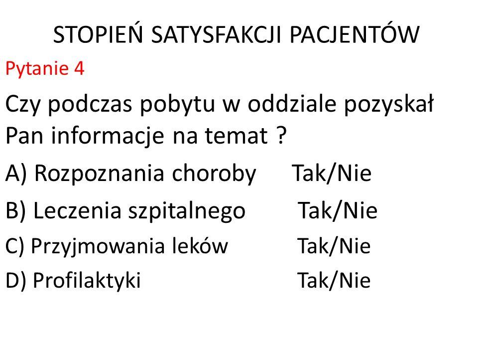 STOPIEŃ SATYSFAKCJI PACJENTÓW - Pytanie nr 9