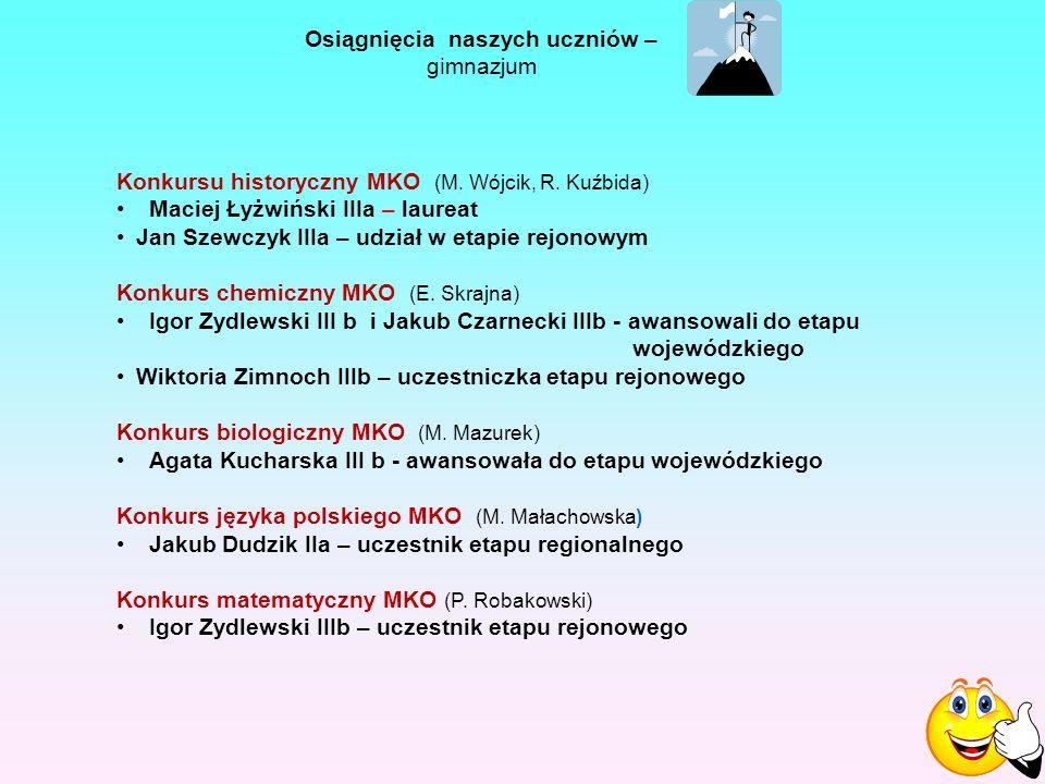 Osiągnięcia naszych uczniów – gimnazjum Konkursu historyczny MKO (M.