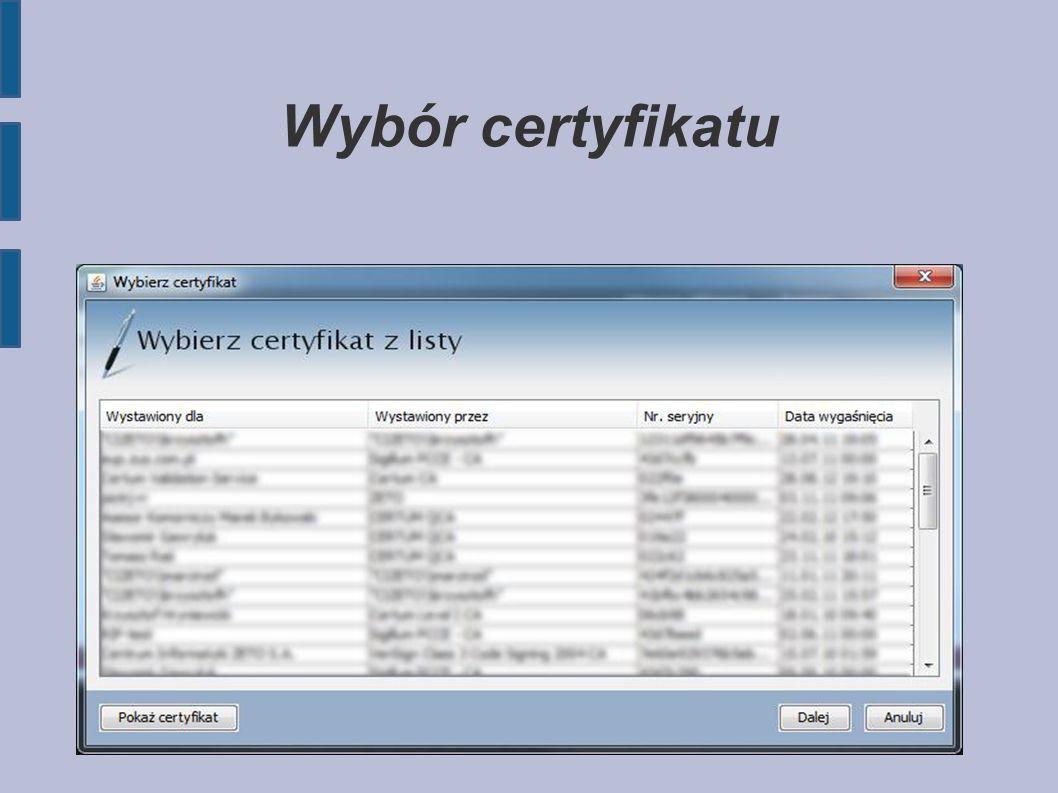Wybór certyfikatu