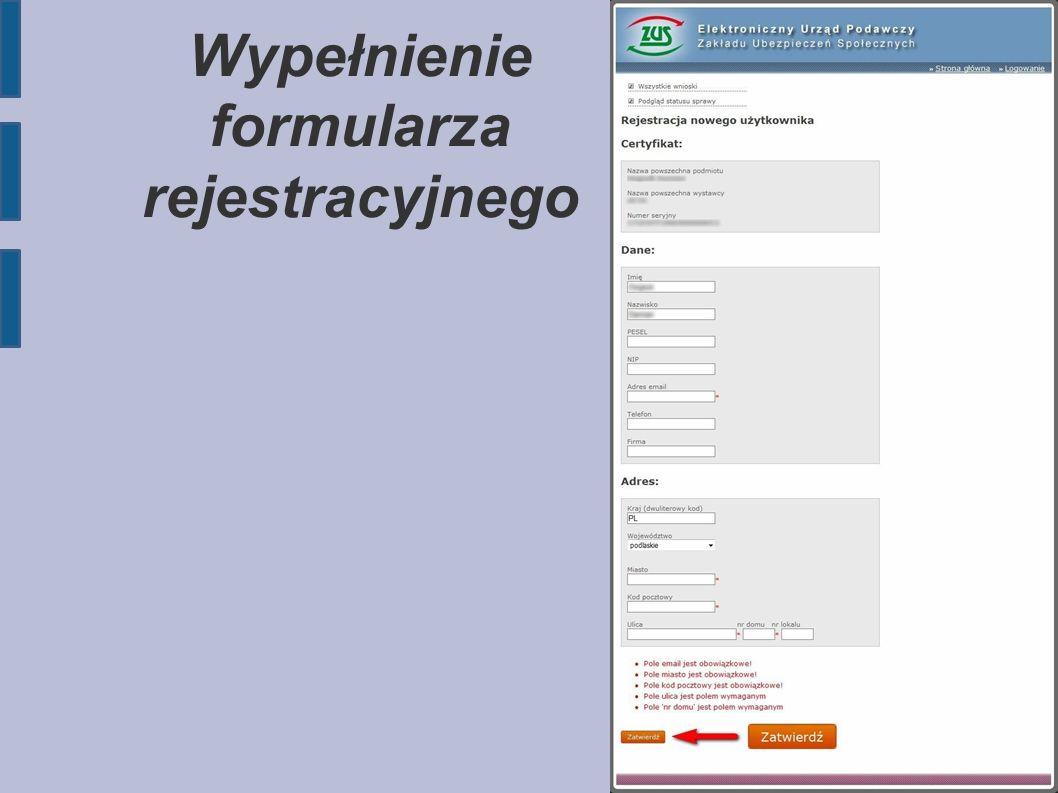 Wypełnienie formularza rejestracyjnego