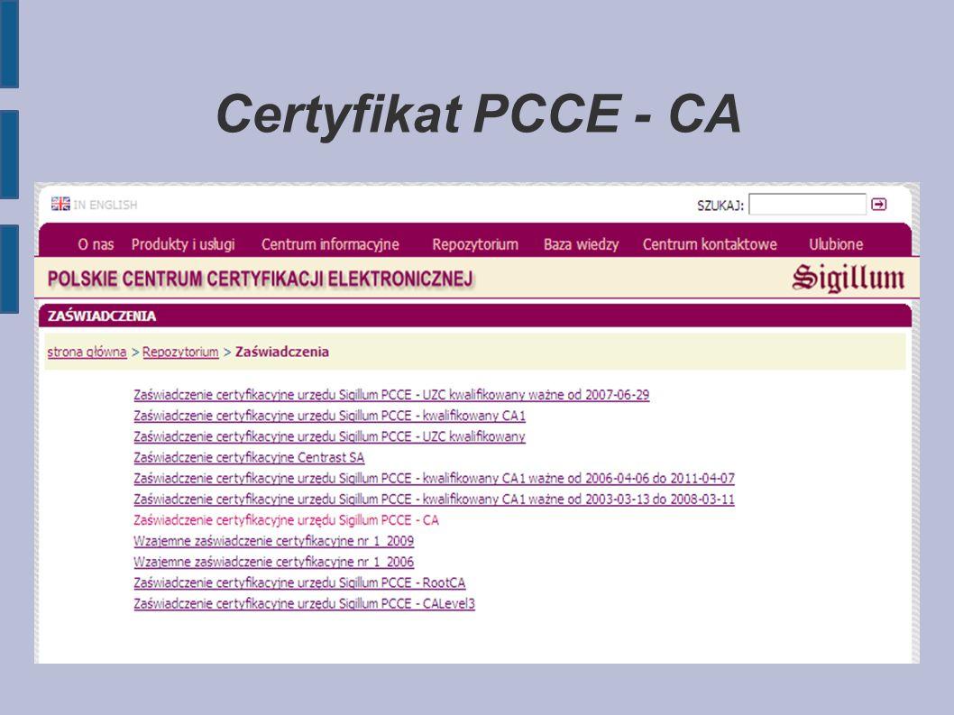 Certyfikat PCCE - CA