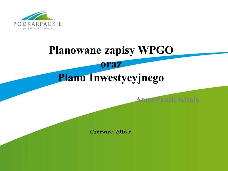 Planowane zapisy WPGO oraz Planu Inwestycyjnego Anna Panek-Kisała Czerwiec 2016 r.