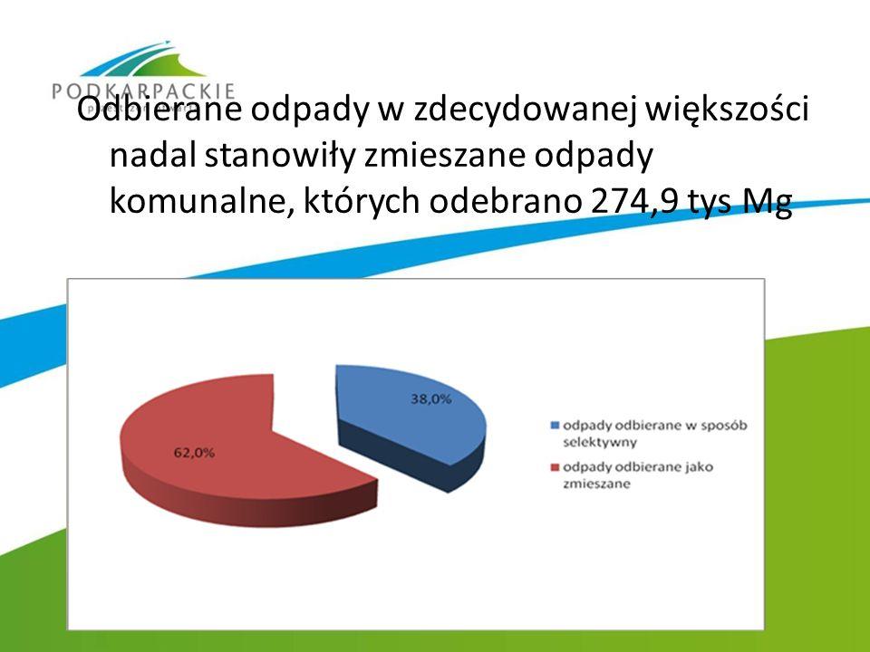 Odbierane odpady w zdecydowanej większości nadal stanowiły zmieszane odpady komunalne, których odebrano 274,9 tys Mg