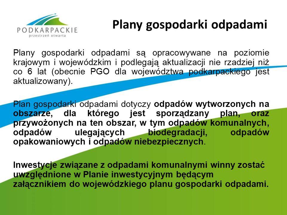 Plany gospodarki odpadami są opracowywane na poziomie krajowym i wojewódzkim i podlegają aktualizacji nie rzadziej niż co 6 lat (obecnie PGO dla wojew