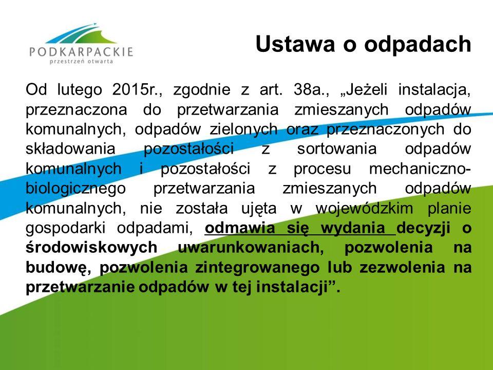"""Ustawa o odpadach Od lutego 2015r., zgodnie z art. 38a., """"Jeżeli instalacja, przeznaczona do przetwarzania zmieszanych odpadów komunalnych, odpadów zi"""