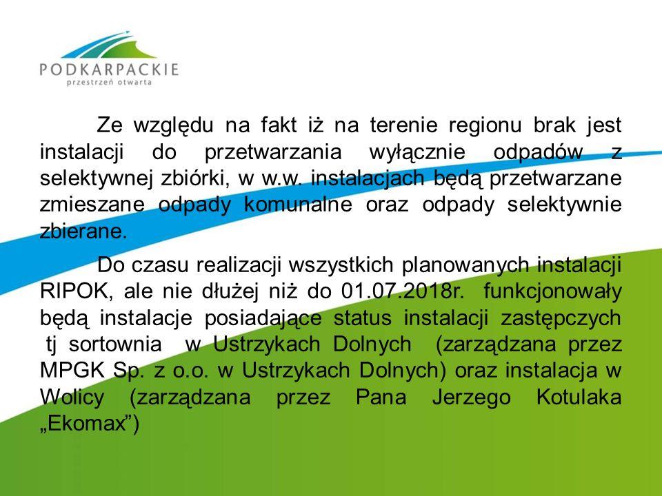Ze względu na fakt iż na terenie regionu brak jest instalacji do przetwarzania wyłącznie odpadów z selektywnej zbiórki, w w.w. instalacjach będą przet
