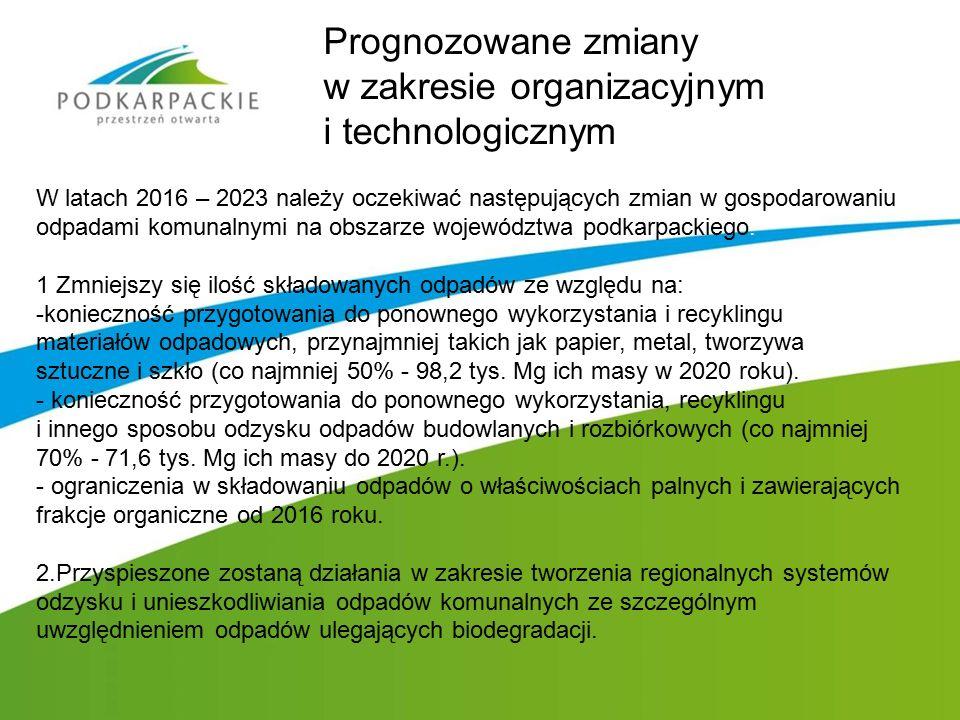 W latach 2016 – 2023 należy oczekiwać następujących zmian w gospodarowaniu odpadami komunalnymi na obszarze województwa podkarpackiego: 1.Zmniejszy si