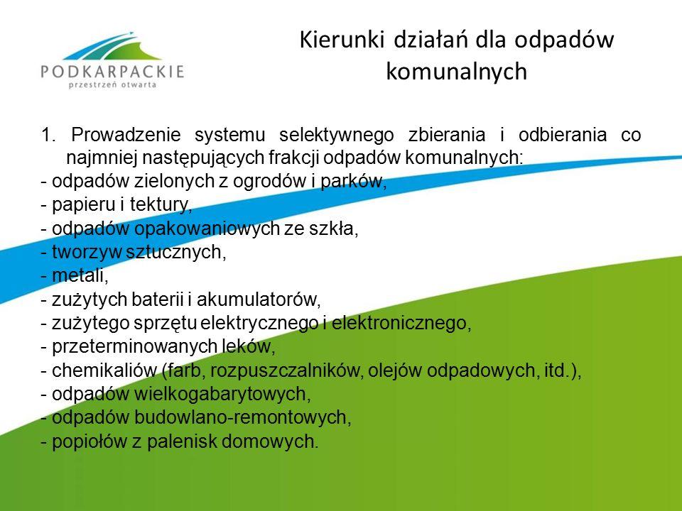 Kierunki działań dla odpadów komunalnych 1. Prowadzenie systemu selektywnego zbierania i odbierania co najmniej następujących frakcji odpadów komunaln