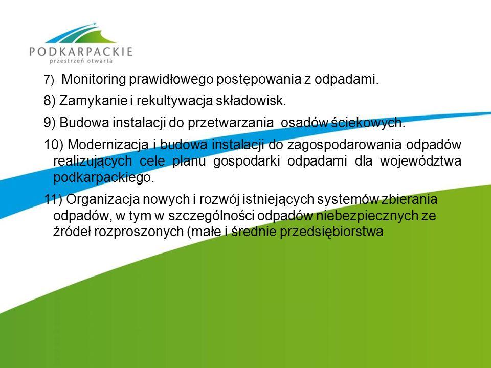 7) Monitoring prawidłowego postępowania z odpadami. 8) Zamykanie i rekultywacja składowisk. 9) Budowa instalacji do przetwarzania osadów ściekowych. 1