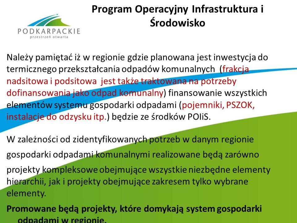 Program Operacyjny Infrastruktura i Środowisko Należy pamiętać iż w regionie gdzie planowana jest inwestycja do termicznego przekształcania odpadów ko