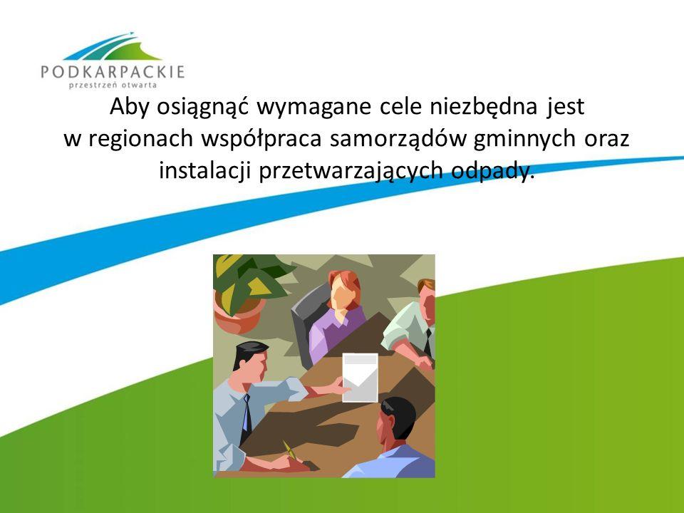 Aby osiągnąć wymagane cele niezbędna jest w regionach współpraca samorządów gminnych oraz instalacji przetwarzających odpady.