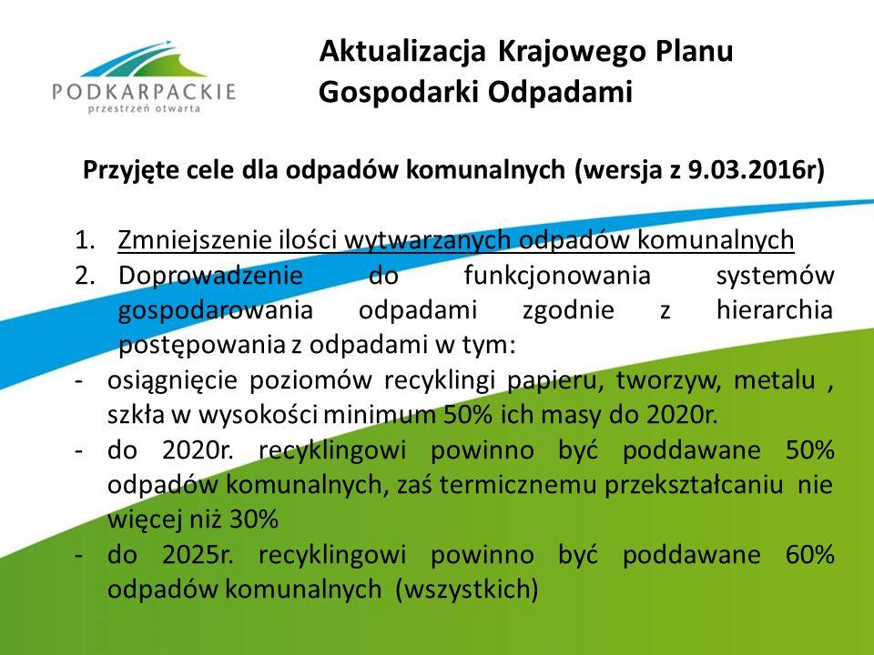 Aktualizacja Krajowego Planu Gospodarki Odpadami Przyjęte cele dla odpadów komunalnych (wersja z 9.03.2016r) 1.Zmniejszenie ilości wytwarzanych odpadó
