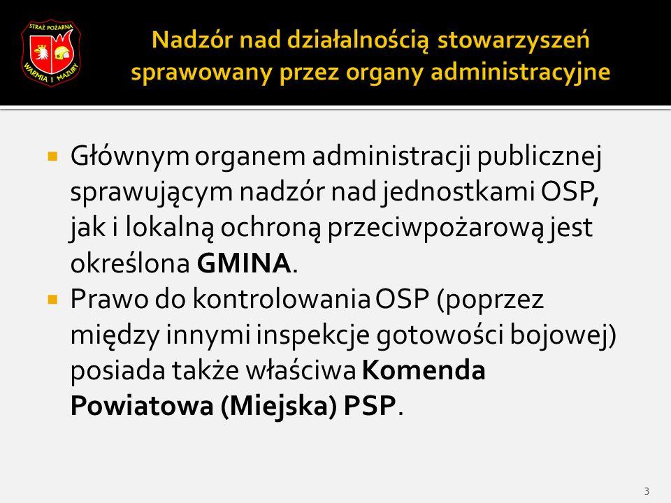  Głównym organem administracji publicznej sprawującym nadzór nad jednostkami OSP, jak i lokalną ochroną przeciwpożarową jest określona GMINA.