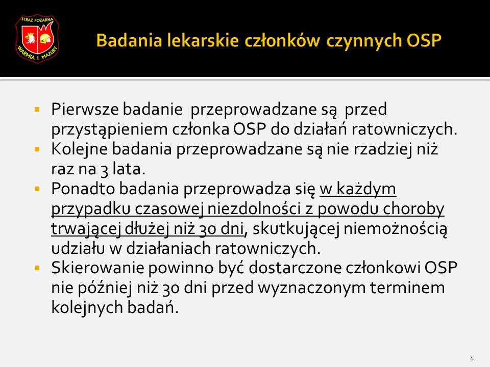 Pierwsze badanie przeprowadzane są przed przystąpieniem członka OSP do działań ratowniczych.