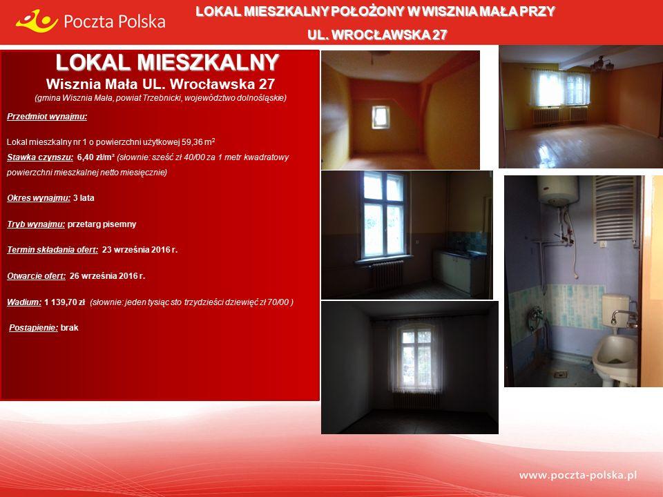 Opis przedmiotu wynajmu: Lokal mieszkalny usytuowany jest na dwóch poziomach budynku stanowiącego własność Poczty Polskiej S.A.