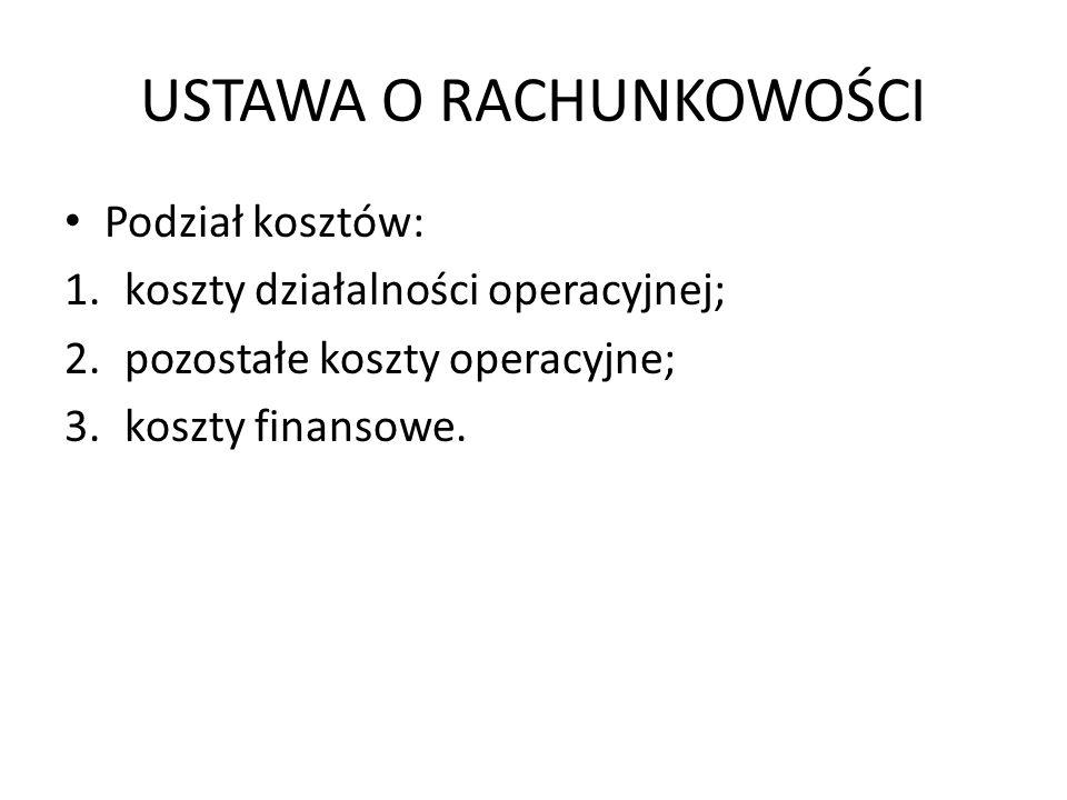 USTAWA O RACHUNKOWOŚCI Podział kosztów: 1.koszty działalności operacyjnej; 2.pozostałe koszty operacyjne; 3.koszty finansowe.