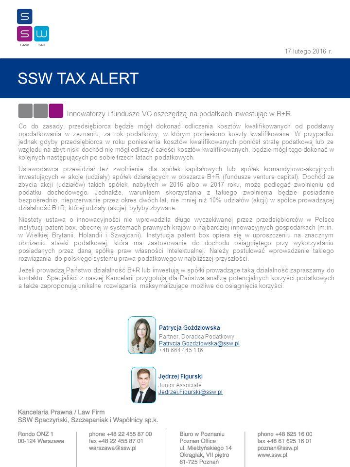 SSW TAX ALERT 17 lutego 2016 r.