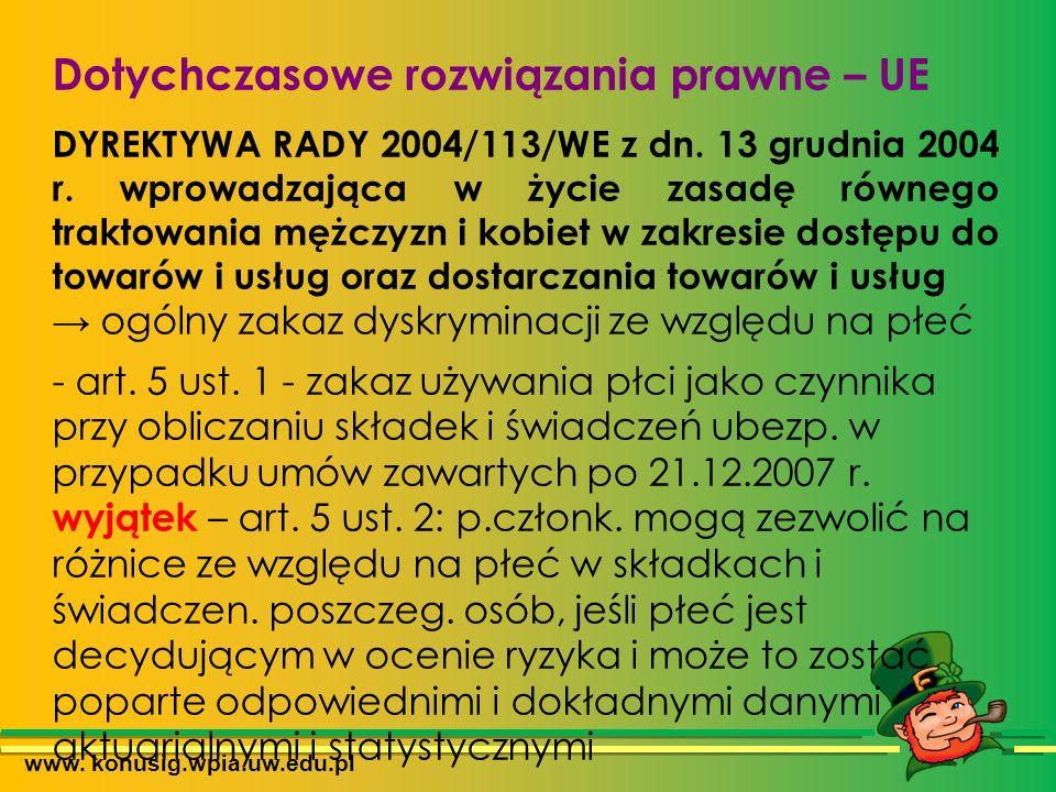 www. konusig.wpia.uw.edu.pl Dotychczasowe rozwiązania prawne – UE DYREKTYWA RADY 2004/113/WE z dn.