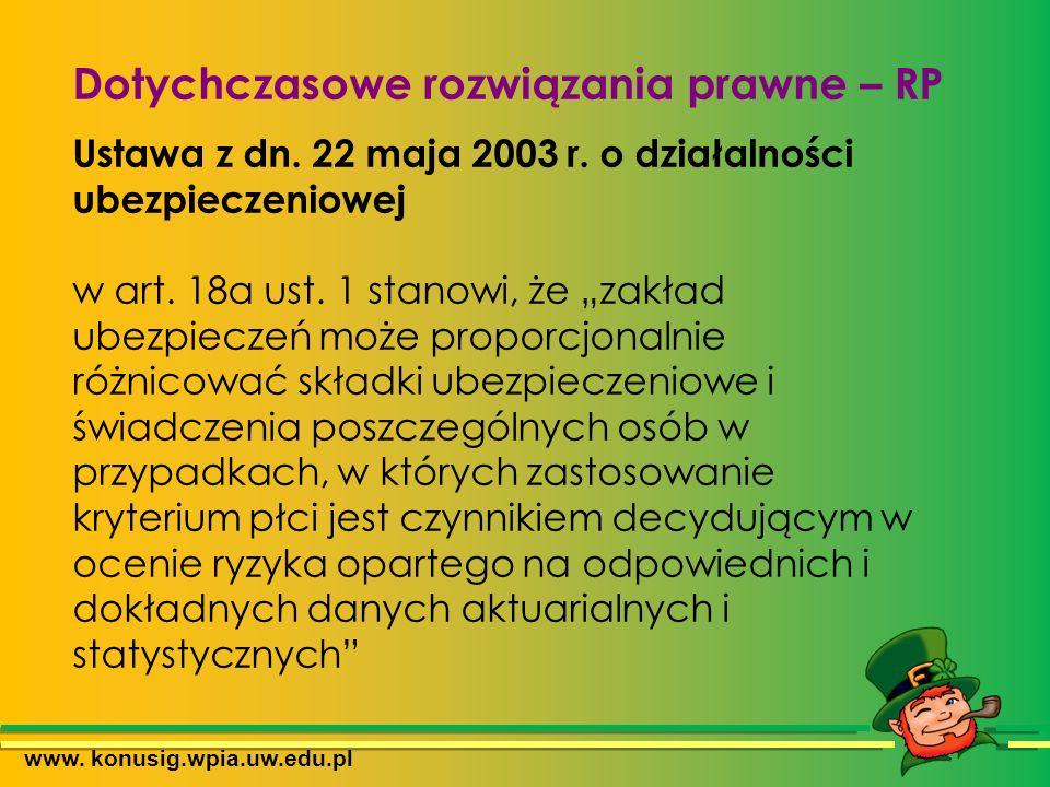 www. konusig.wpia.uw.edu.pl Dotychczasowe rozwiązania prawne – RP Ustawa z dn.