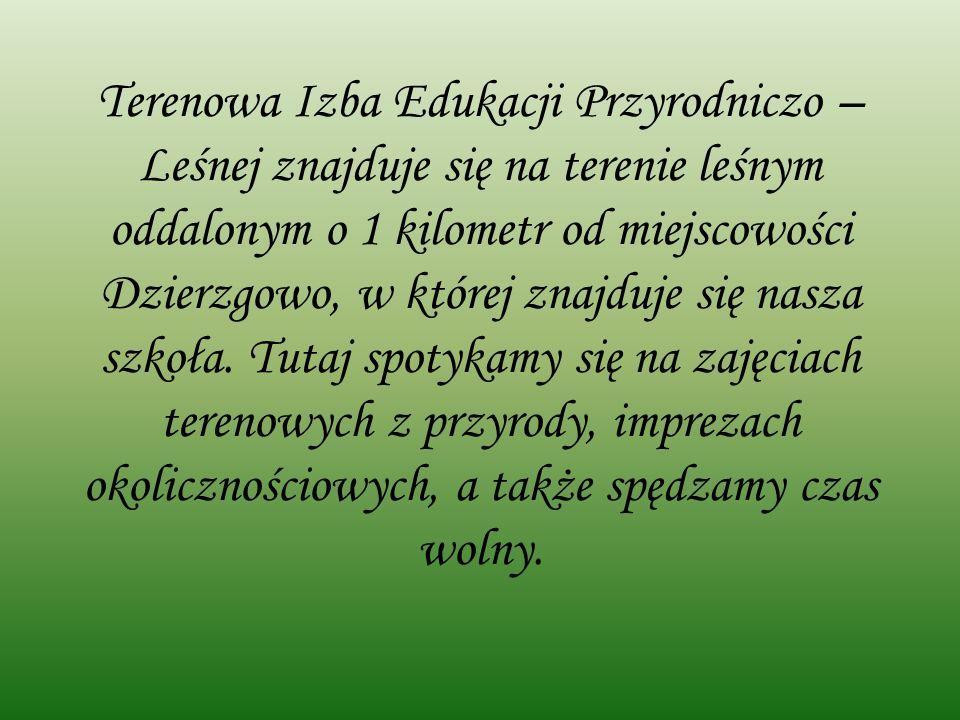 Terenowa Izba Edukacji Przyrodniczo – Leśnej znajduje się na terenie leśnym oddalonym o 1 kilometr od miejscowości Dzierzgowo, w której znajduje się nasza szkoła.