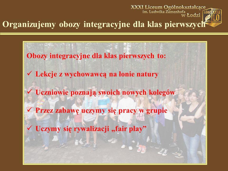 """Organizujemy obozy integracyjne dla klas pierwszych Obozy integracyjne dla klas pierwszych to: Lekcje z wychowawcą na łonie natury Uczniowie poznają swoich nowych kolegów Przez zabawę uczymy się pracy w grupie Uczymy się rywalizacji """"fair play"""