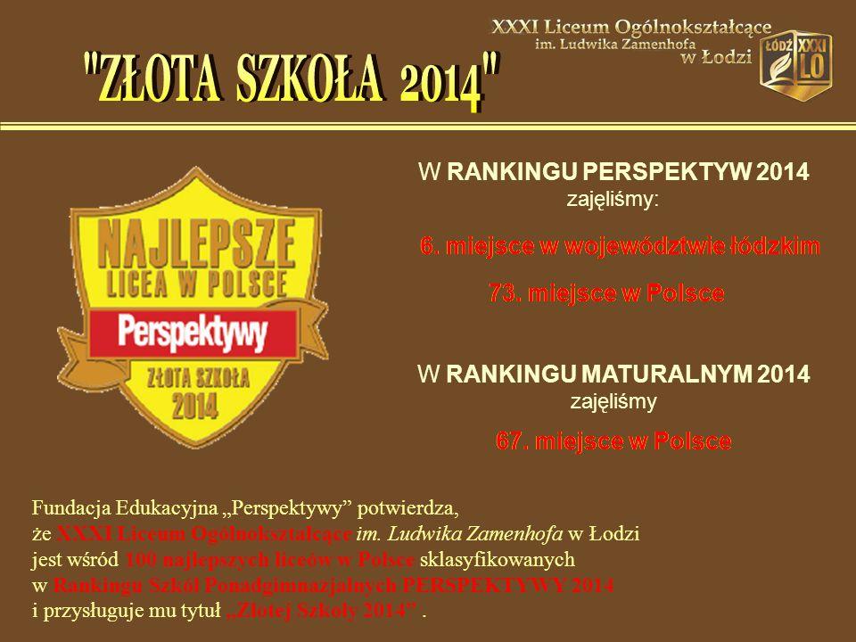 6. miejsce w województwie łódzkim 73. miejsce w Polsce W RANKINGU MATURALNYM 2014 zajęliśmy 67.