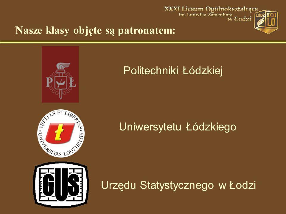 Politechniki Łódzkiej Uniwersytetu Łódzkiego Urzędu Statystycznego w Łodzi Nasze klasy objęte są patronatem: