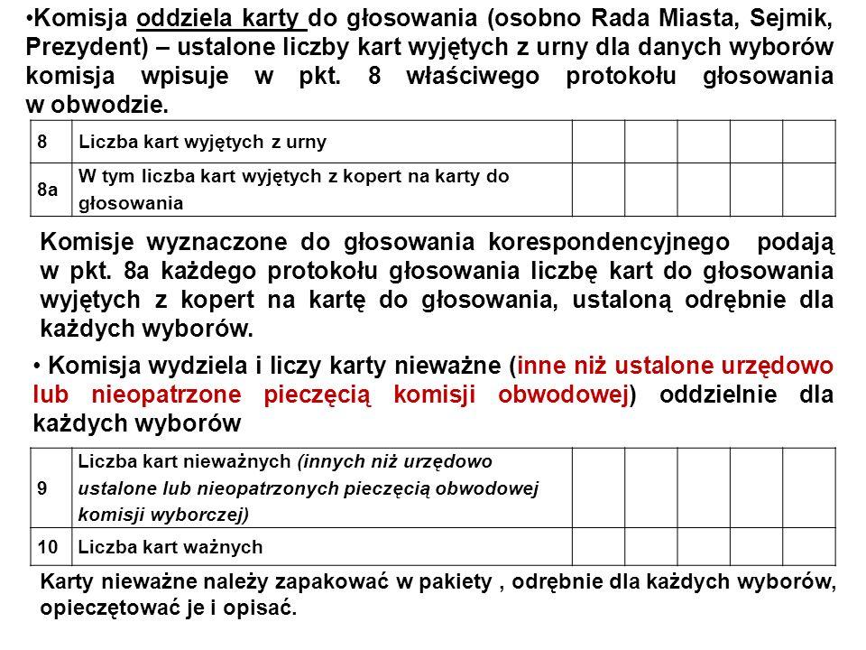 Karty ważne należy policzyć, odrębnie dla: o Rady Miasta Tychy, o Sejmiku Województwa Śląskiego, o Prezydenta Miasta Tychy.