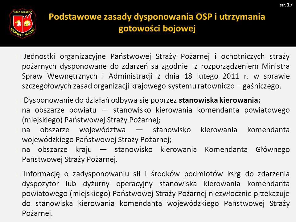 Podstawowe zasady dysponowania OSP i utrzymania gotowości bojowej str.