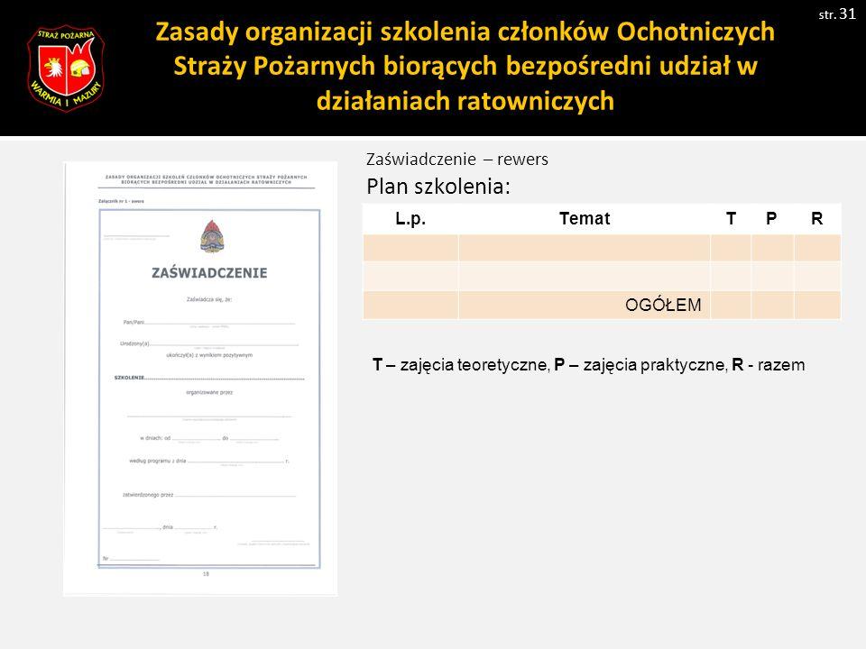Zasady organizacji szkolenia członków Ochotniczych Straży Pożarnych biorących bezpośredni udział w działaniach ratowniczych str.