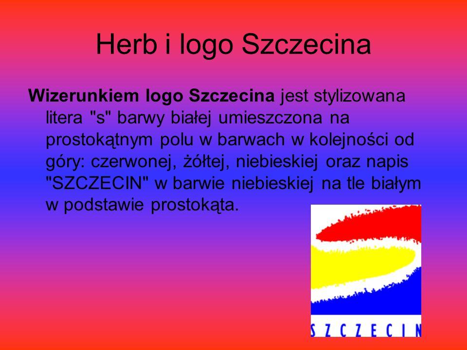 Herb i logo Szczecina Wizerunkiem logo Szczecina jest stylizowana litera s barwy białej umieszczona na prostokątnym polu w barwach w kolejności od góry: czerwonej, żółtej, niebieskiej oraz napis SZCZECIN w barwie niebieskiej na tle białym w podstawie prostokąta.