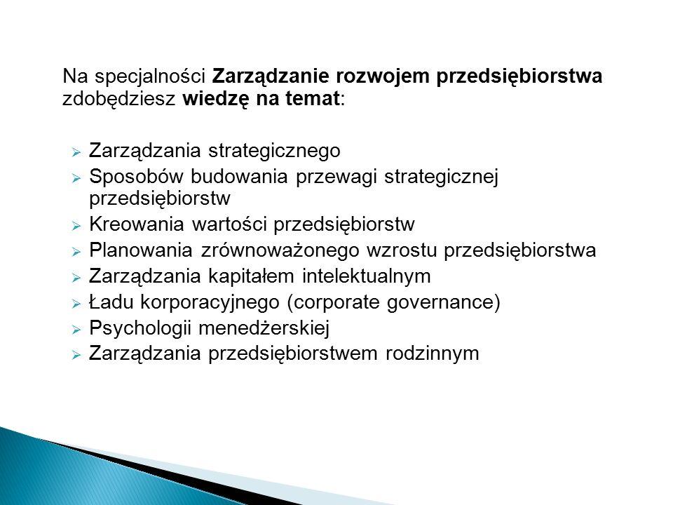 Na specjalności Zarządzanie rozwojem przedsiębiorstwa zdobędziesz wiedzę na temat:  Zarządzania strategicznego  Sposobów budowania przewagi strategicznej przedsiębiorstw  Kreowania wartości przedsiębiorstw  Planowania zrównoważonego wzrostu przedsiębiorstwa  Zarządzania kapitałem intelektualnym  Ładu korporacyjnego (corporate governance)  Psychologii menedżerskiej  Zarządzania przedsiębiorstwem rodzinnym