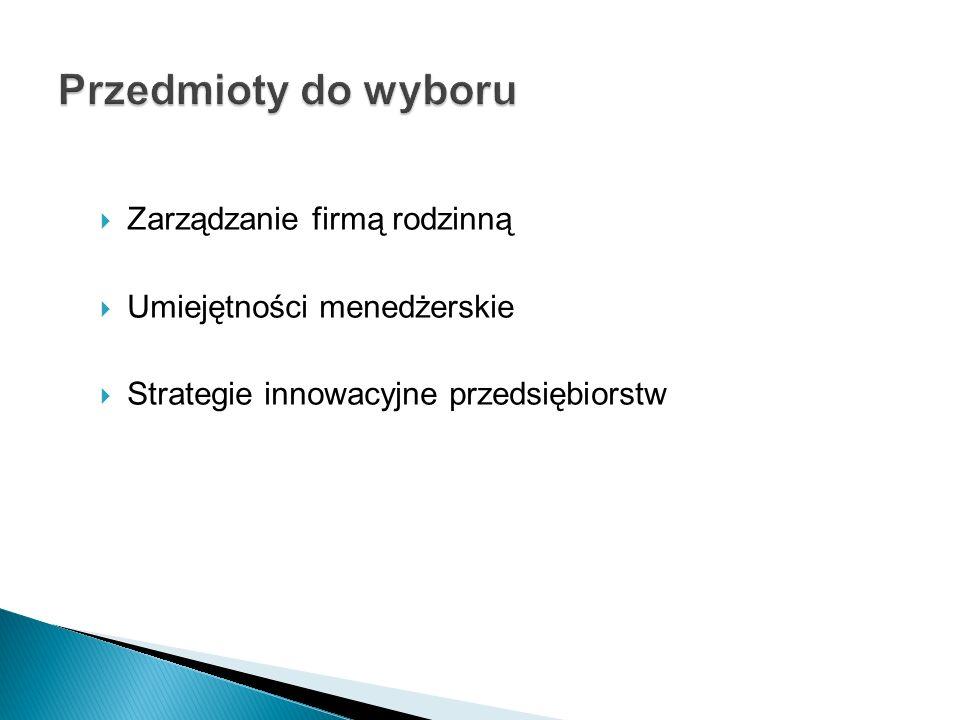  Zarządzanie firmą rodzinną  Umiejętności menedżerskie  Strategie innowacyjne przedsiębiorstw