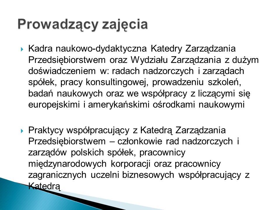  Kadra naukowo-dydaktyczna Katedry Zarządzania Przedsiębiorstwem oraz Wydziału Zarządzania z dużym doświadczeniem w: radach nadzorczych i zarządach spółek, pracy konsultingowej, prowadzeniu szkoleń, badań naukowych oraz we współpracy z liczącymi się europejskimi i amerykańskimi ośrodkami naukowymi  Praktycy współpracujący z Katedrą Zarządzania Przedsiębiorstwem – członkowie rad nadzorczych i zarządów polskich spółek, pracownicy międzynarodowych korporacji oraz pracownicy zagranicznych uczelni biznesowych współpracujący z Katedrą