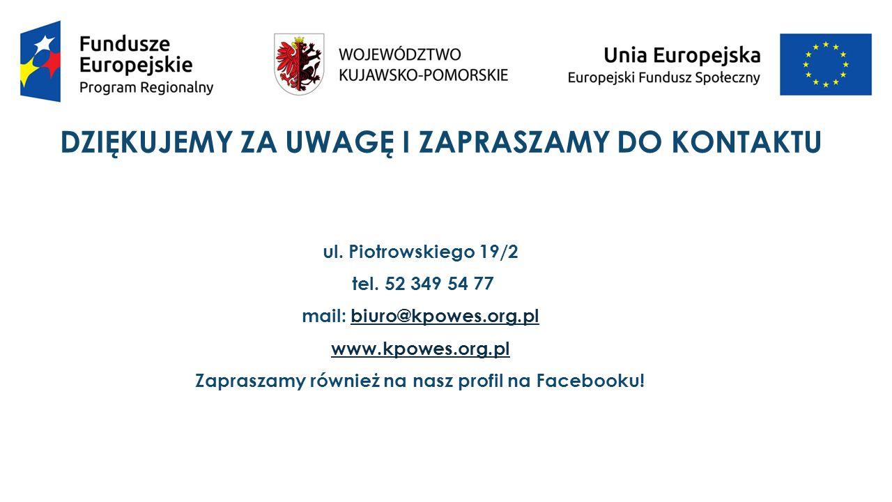 DZIĘKUJEMY ZA UWAGĘ I ZAPRASZAMY DO KONTAKTU ul. Piotrowskiego 19/2 tel.