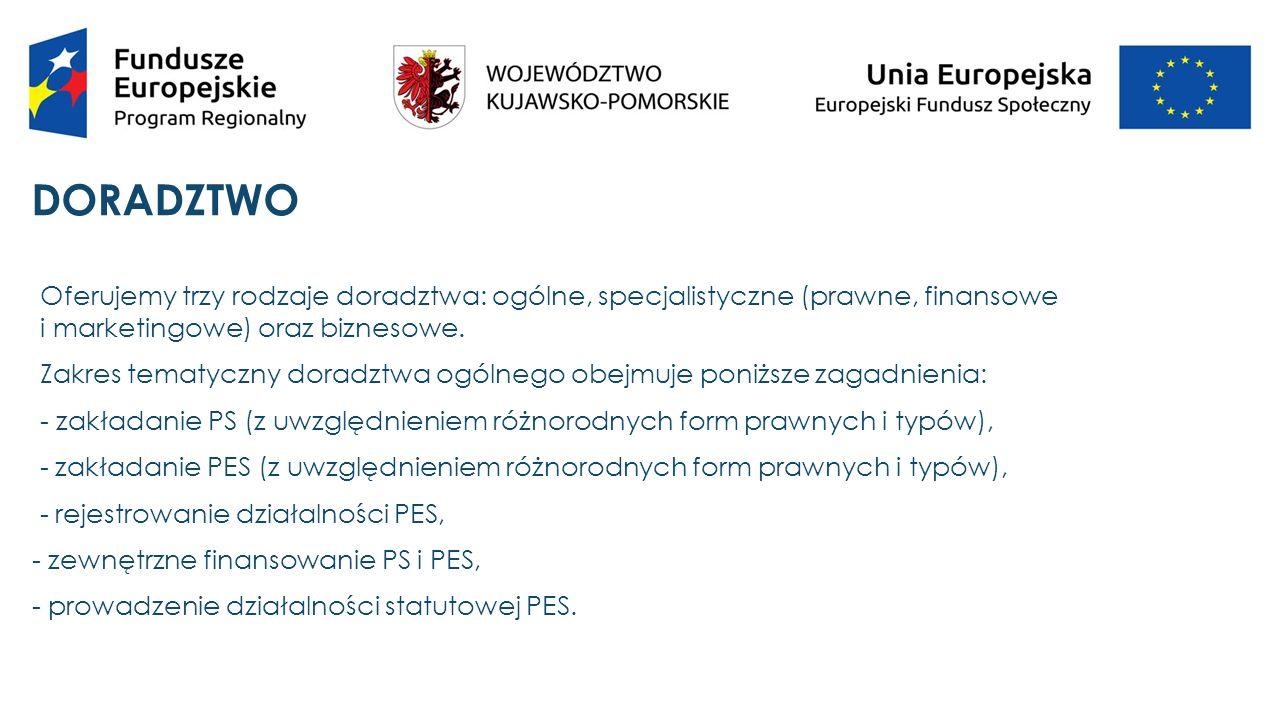 DORADZTWO  Zakres tematyczny doradztwa specjalistycznego obejmuje następujące zagadnienia:  a) w zakresie prawnym: - prowadzenie działalności gospodarczej w ramach PS, - prawne aspekty działania w sferze ekonomii społecznej, - podatki bezpośrednie i pośrednie w działaniach PES, - obowiązki pracodawcy względem pracowników.