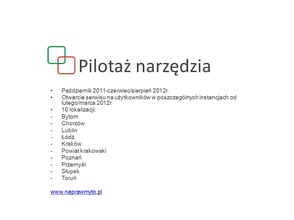 Pilotaż narzędzia Październik 2011-czerwiec/sierpień 2012r.