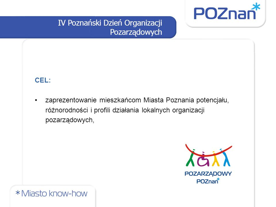 IV Poznański Dzień Organizacji Pozarządowych Dzień ORGANIZACJA: Termin 14 września 2013 r.