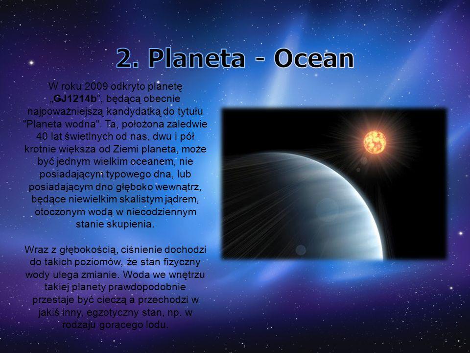 """W roku 2009 odkryto planetę """"GJ1214b , będącą obecnie najpoważniejszą kandydatką do tytułu Planeta wodna ."""