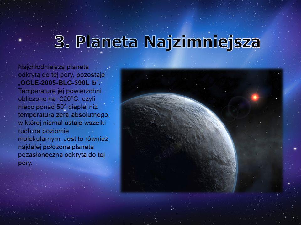 """Najchłodniejszą planetą odkrytą do tej pory, pozostaje """"OGLE-2005-BLG-390L b"""". Temperaturę jej powierzchni obliczono na -220°C, czyli nieco ponad 50°"""