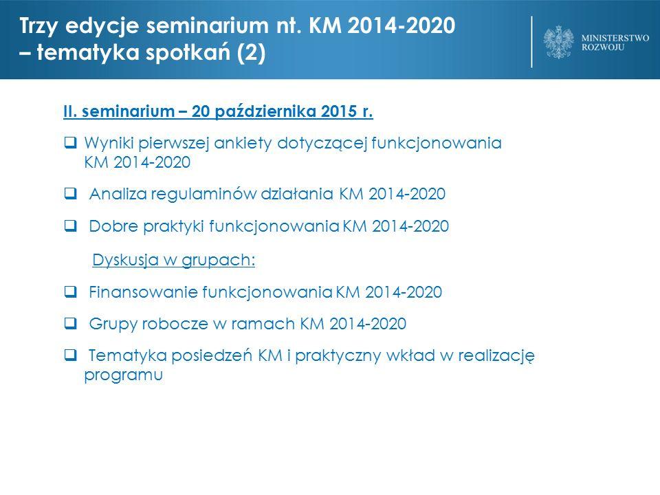 Trzy edycje seminarium nt. KM 2014-2020 – tematyka spotkań (2) II.