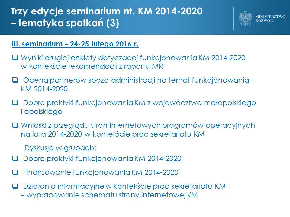 Trzy edycje seminarium nt. KM 2014-2020 – tematyka spotkań (3) III.