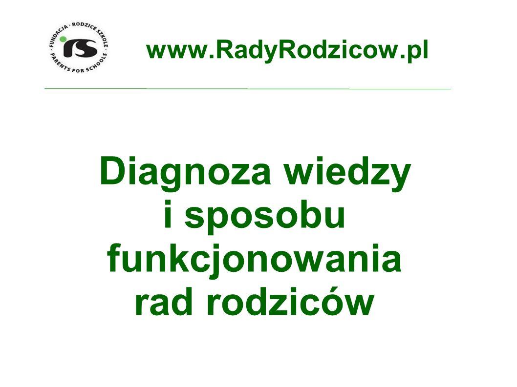 www.RadyRodzicow.pl Diagnoza wiedzy i sposobu funkcjonowania rad rodziców